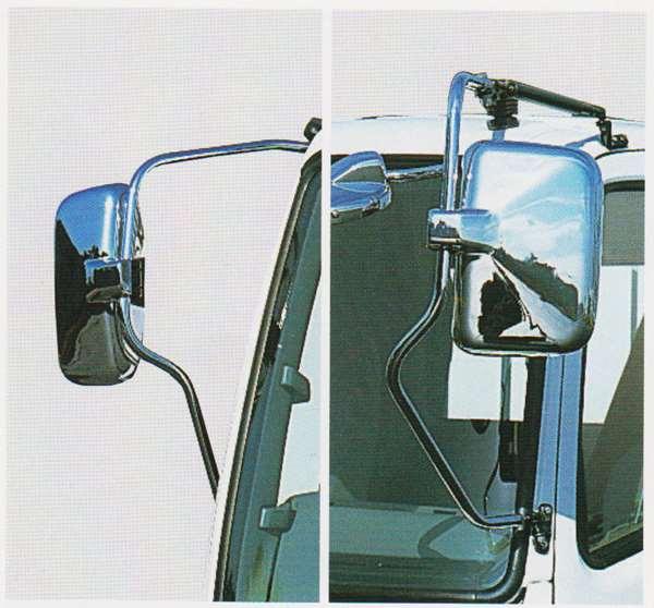 ファイター パーツ メッキミラーカバー LH:マニュアル2ミラー(ヒーターレス)手動格納・電動格納 RH:マニュアルミラー(ヒーターレス) ※メッキミラーステーは別売です 三菱ふそう純正部品