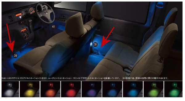 『アトレーワゴン』 純正 S321G S331G LEDカラフルフロアイルミネーション(1台分) パーツ ダイハツ純正部品 足元照明 フットランプ フットライト オプション アクセサリー 用品