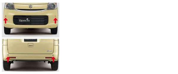『スペーシア』 純正 MK42S コーナーセンサーセット(フロント2センサー+リヤ2センサー) インジケーター付 パーツ スズキ純正部品 危険察知 接触防止 セキュリティー spacia オプション アクセサリー 用品