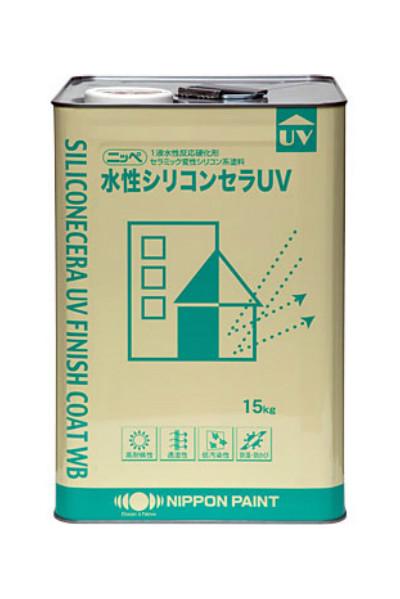 【送料無料】水性シリコンセラUV(ND淡彩色(一部除く):艶有)15kg<日本ペイント>コンクリ・モルタル・窯業サイディングなど