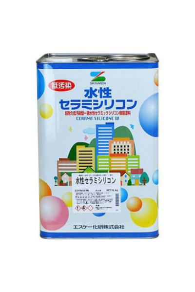 【送料無料】水性セラミシリコン(白/ホワイト:半艶、3分艶、艶消し)内外装用塗料:16kg<エスケー化研>