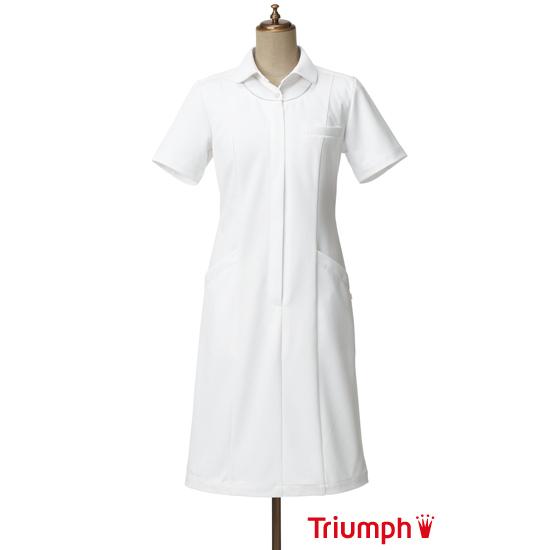 【10%OFFクーポン配布中】Triumph(トリンプ)白衣 TPF-204-WH 女性用 ワンピース | ユニフォーム レディース ナース服 おしゃれ 医師 大きいサイズ 制服 ジップ 手術着 看護師 看護服 医療用白衣 施術服 女性 医療用 ナース【ラッキーシール対応】
