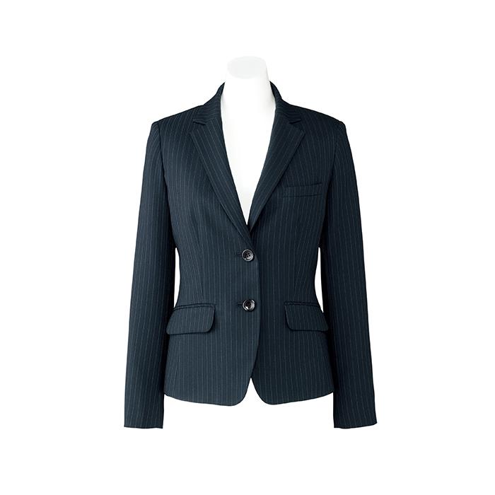 事務服 レディース ジャケット AJ0245 ストライプ ストレッチ 二つボタン 紺 ネイビー 黒 Lien| ユニフォーム 女性用 制服 おしゃれ オフィス 長袖 事務制服 スーツ ビジネス オフィスウェア 会社 オフィスユニフォーム 事務 事務員 オフィス制服 スーツジャケット