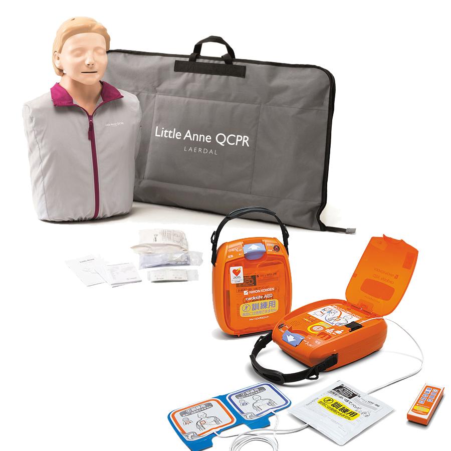 AEDトレーニングユニット「日本光電 TRN-3100」+ CPR訓練用人形「レールダル リトルアン QCPR」セット