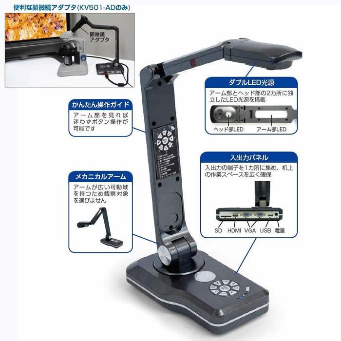 OHP 書画カメラ KV501-AD 顕微鏡アダプタ付 ケニス 教材提示装置 ビジュアルプレゼンター 1-170-0155