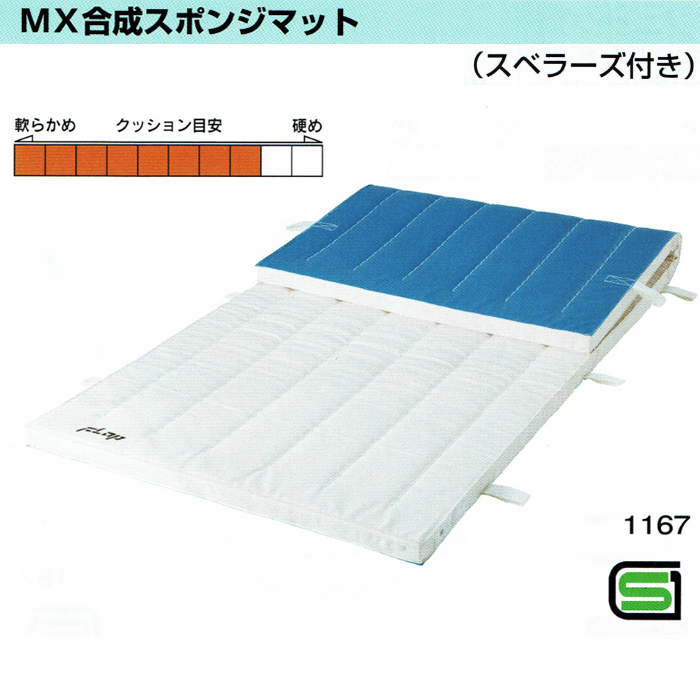 MX合成スポンジマット 5cm厚仕上げ 9号帆布 120×240サイズ スベラーズ付きタイプ