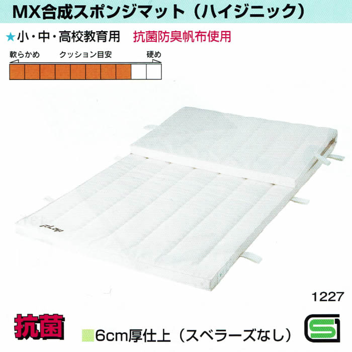 MX合成スポンジマット(ハイジニック) 6cm厚仕上げ 6号帆布 90×180サイズ スベラーズなしタイプ