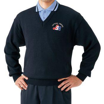 【Mizuno~ミズノ】ソフトボール審判員用 V首セーター<ネイビー>*サイズ:SS、S、M、L、O、XO*左胸JSAマーク入り