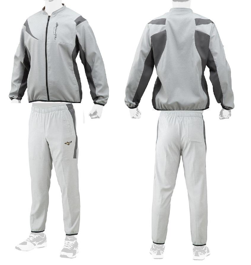 【Mizuno Pro~ミズノ・プロ】野球ウェアムーブクロスウォームシャツ&ムーブクロスウォームパンツ(上下セット売り)【ジャケット・パンツ共にカラー:アロイグレー】[サイズ:M/L/O/XO]