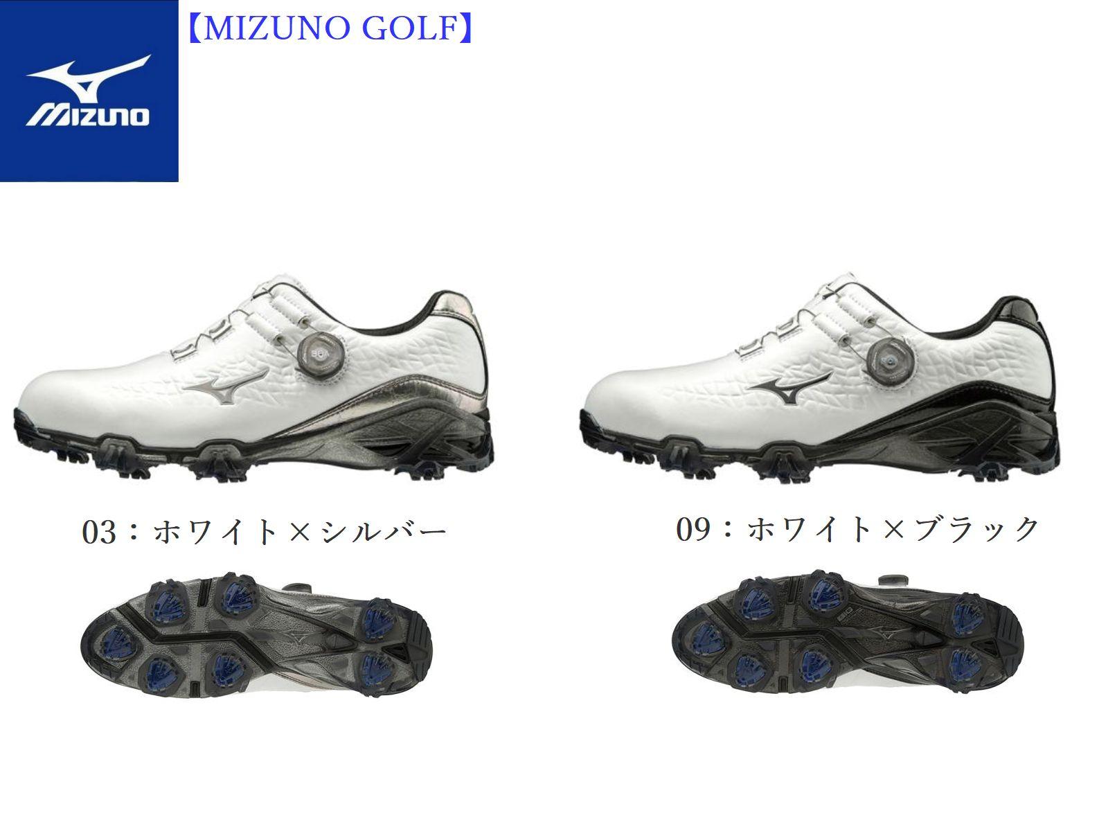 【Mizuno GOLF=ミズノ ゴルフ】ゴルフシューズ ゴルフ【ジェネム009ボア EEE(ゴルフ)】[メンズ]【ホワイト×シルバー】【ホワイト×ブラック】(24.0~28.0、29.0cm)(シューズ幅3E相当の方向け)