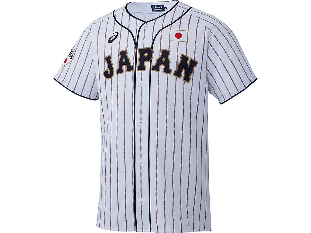 【Asics=アシックス】-SAMURAI JAPAN-侍ジャパンレプリカユニフォーム(H:ホーム)<サムライホワイト>(サイズ:M/L/O)