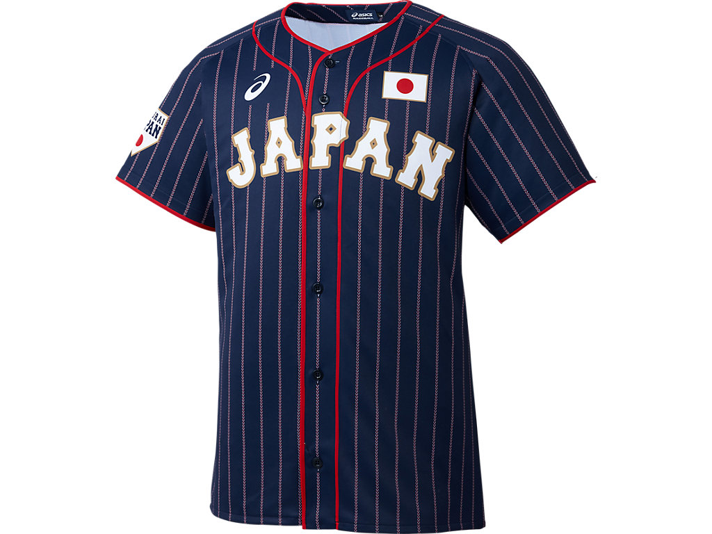 【Asics=アシックス】-SAMURAI JAPAN-侍ジャパンレプリカユニフォーム(V:ビジター)<サムライネイビー>(サイズ:M/L/O)
