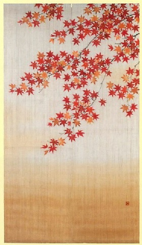 和雑貨 暖簾 のれん インテリア【紅葉の宴】【NOREN】-Japanese short (split) curtain hung at the entrance of a room.-Japanese shop curtain-[Seasonal-Autumn-][Autumnal tints] Made in Japan