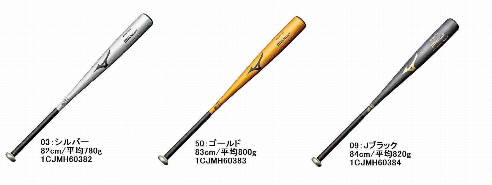 【Mizuno Global Elite~ミズノ・グローバルエリート】野球中学硬式用金属製バットMGセレクト(金属製)[シルバー/82cm/平均780g][ゴールド/83cm/平均800g][Jブラック/84cm/平均820g](ミドルバランス)