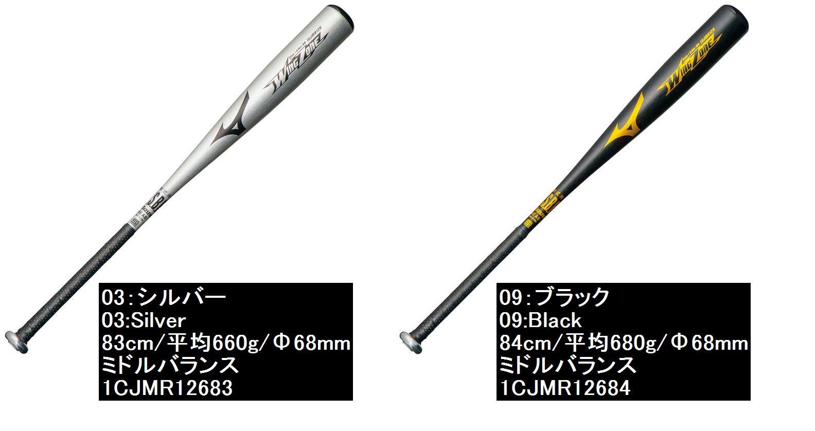【Mizuno =ミズノ】野球 金属バット 軟式野球用バット バット軟式用金属製バット【ウィングゾーン】<83cm/平均660g/ミドルバランス/Φ68mm/シルバー><84cm/平均680g/ミドルバランス/Φ68mm/ブラック>