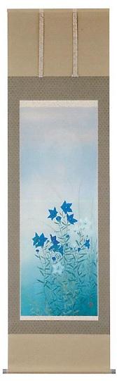 和雑貨 掛軸 掛け軸 インテリア 飾り 床の間【桔梗】中沢 勝 作季節掛け(秋)Kakejiku-Japanese hanging scroll-[Seasonal-Autumn-]尺五立