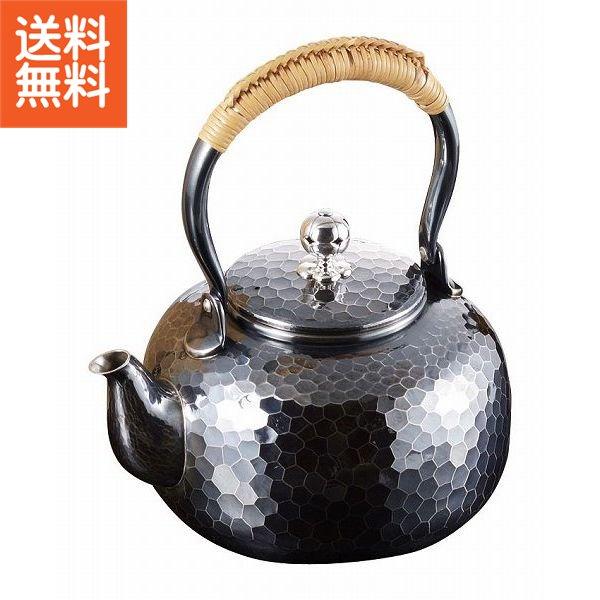 【送料無料】|伝統工芸 槌起 金属加工湯沸平形石目|〈Ag-55〉茶器 記念品 お祝い 御礼 叙勲祝い 叙勲記念 高額記念品