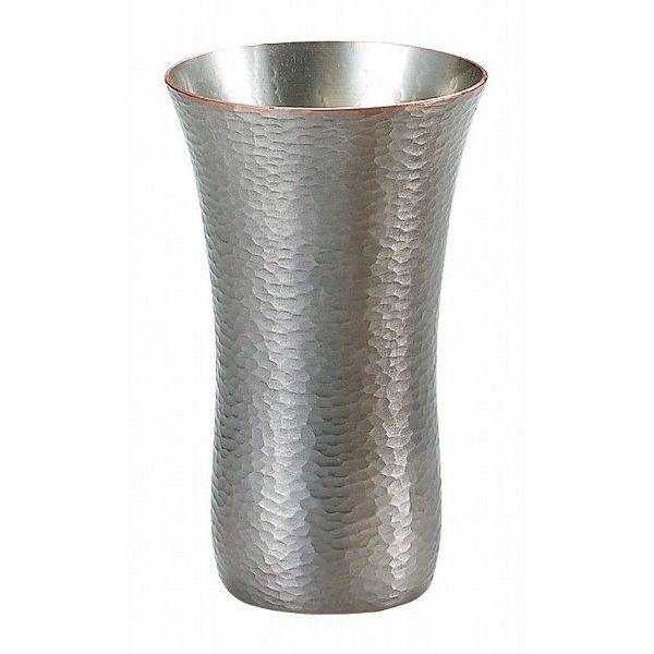 【送料無料】伝統工芸 槌起 金属加工ビアカップ胴締ゴザ目〈Cu-1〉酒器 記念品 お祝い 御礼 叙勲祝い 叙勲記念 高額記念品