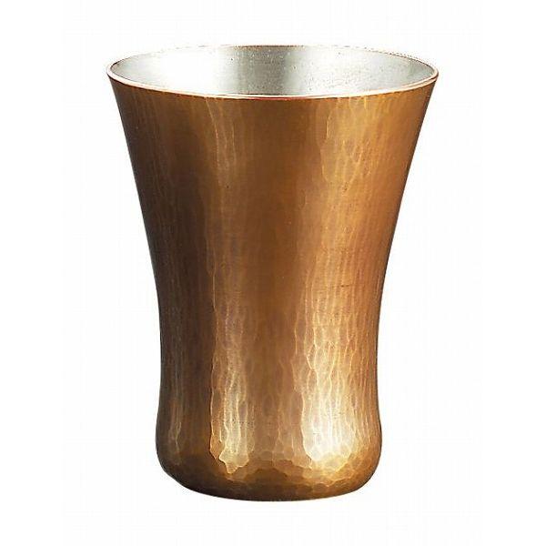 【送料無料】|伝統工芸 槌起 金属加工冷酒カップ胴締ならし目|〈Cu-18〉酒器 記念品 お祝い 御礼 叙勲祝い 叙勲記念 高額記念品