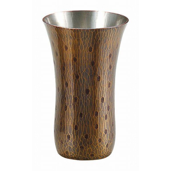【送料無料】伝統工芸 槌起 金属加工ビアカップ胴締玉打〈Cu-3〉酒器 記念品 お祝い 御礼 叙勲祝い 叙勲記念 高額記念品