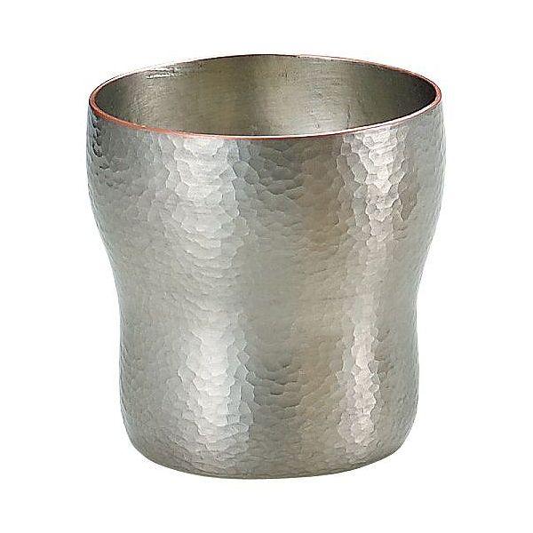 【送料無料】 伝統工芸 槌起 金属加工ロックカップ胴締刃鎚目(白銀)大 〈Cu-5〉酒器 記念品 お祝い 御礼 叙勲祝い 叙勲記念 高額記念品