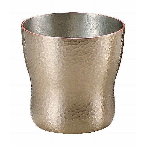 【送料無料】伝統工芸 槌起 金属加工ロックカップ胴締刃鎚目(白金)大〈Cu-6〉酒器 記念品 お祝い 御礼 叙勲祝い 叙勲記念 高額記念品