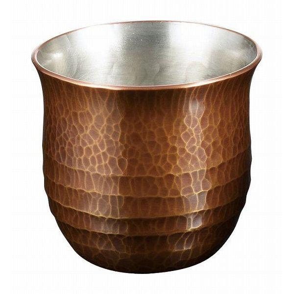 【送料無料】伝統工芸 槌起 金属加工ぐい呑帯条文素銅色〈Cu-G-3〉酒器 記念品 お祝い 御礼 叙勲祝い 叙勲記念 高額記念品