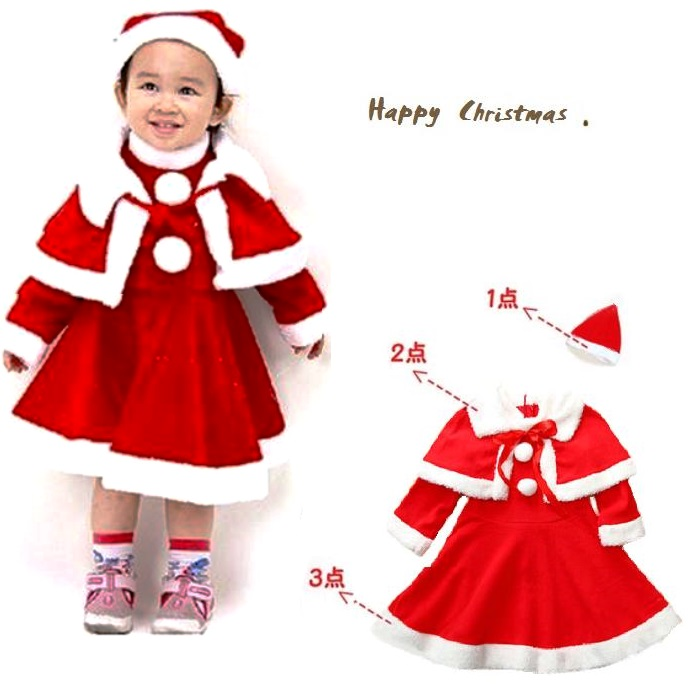 abb7dcd9e6e Santa cosplay ■ Santa one-piece (poncho and hat with) set of 3 cm/90 80 cm  / 100 cm ■ Santa outfit / costume / party / kids / Santa costume and ...