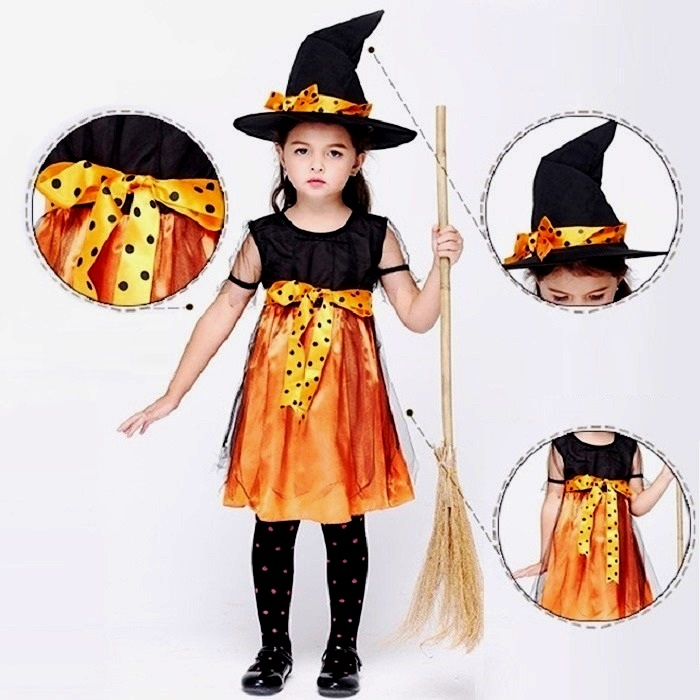 halloween kids costumes witch girl costume 95 cm100 cm 120 cm