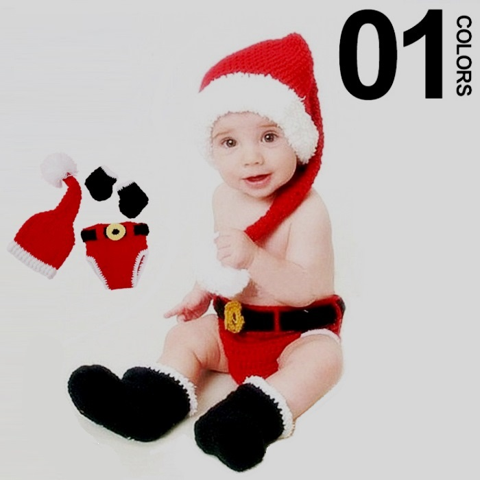 Christmas Santa's 3-piece set (hat + bloomers + shoe) for photography ...
