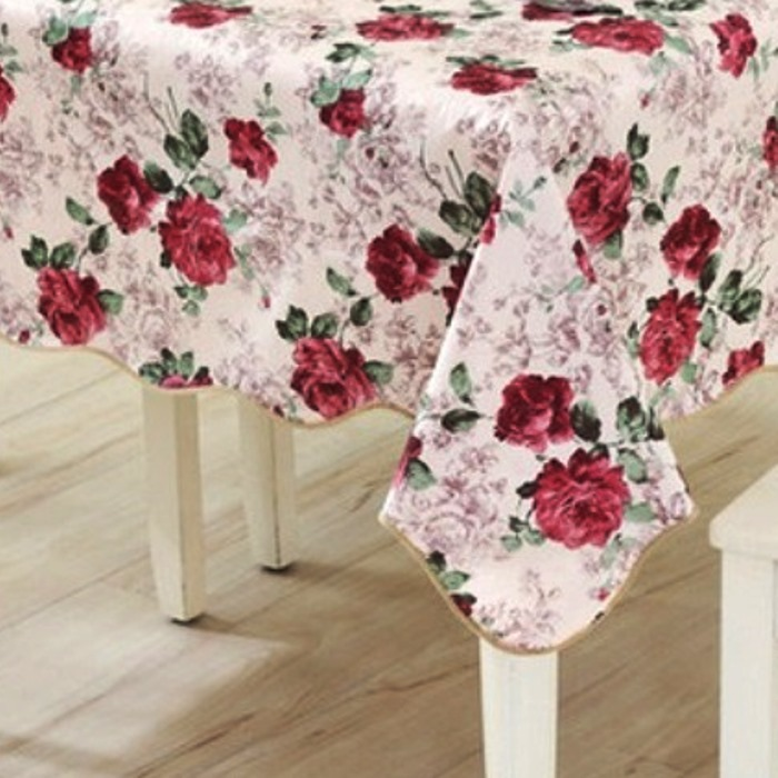 Superbe Tablecloth Christmas □ Water Repellent Processing Elegant Rose Tablecloth  106cm *152cm □ Tablecloth Vinyl ...