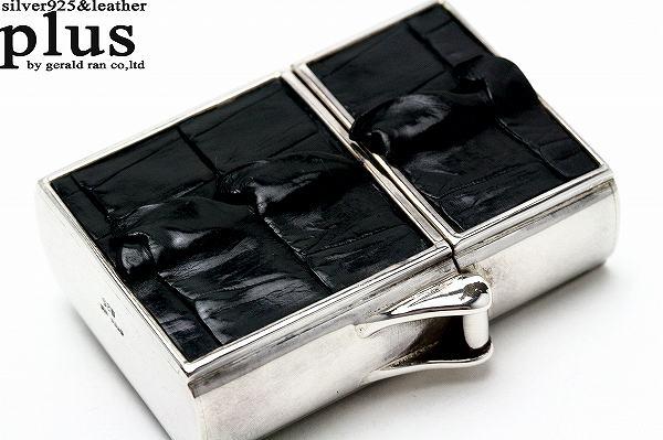 【送料無料】silver925製 本革クロコダイルジッポ黒/シルバー925/SILVER/zippo/クロコダイルレザー/ワニ革/ジッポ/ライター/メンズアクセサリー/