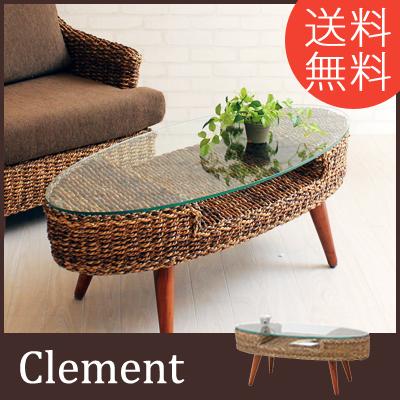 ローテーブル ローボード 105 センターテーブル アジアン リビング ガラス製 木製 おしゃれ 送料無料 ソファテーブル カフェ風 北欧 一人暮らし インテリア テーブル コーヒーテーブル clement クレメント