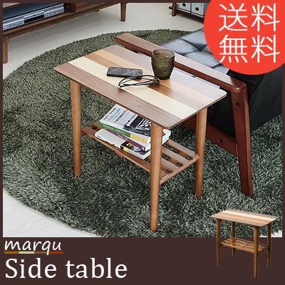 サイドテーブル 北欧 木製 ウォールナット おしゃれ 4種の木目 サイドテーブル W55×D32.5×H50 寄木 天然木 パイン材 送料無料 marqu サイドテーブル ソファに座って映画を見ながらコーヒーを飲める