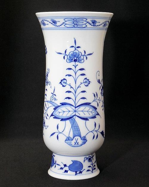 送料無料 マイセン Meissen ブルーオニオン フラワーベース 花瓶 高さ約24cm 一級品