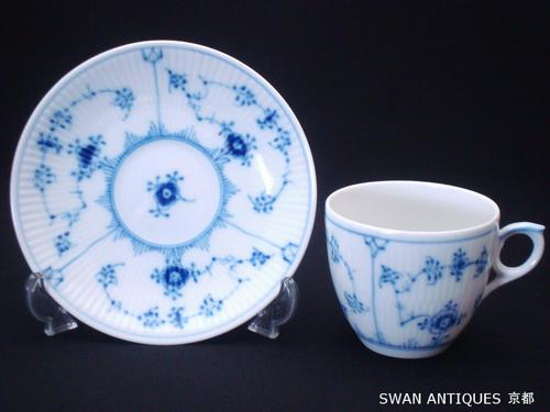 ロイヤルコペンハーゲン Royal Copenhagen デンマーク製 ブルーフルーテッド プレイン コーヒーカップ&ソーサー