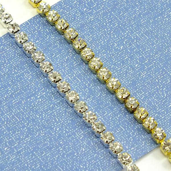 【メール便(ゆうパケット)OK】 高品質ガラスストーン ダイヤレーン 10cm SS12(ストーンサイズ: 約3-3.2mm) クリスタル(ダイヤチェーン/連爪チェーン/カップチェーン)