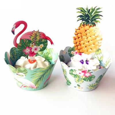 (ykf12) 雑貨 フラミンゴ パイナップル デコレーション カップ ペーパーフラッグ付き 2種×各3枚セット 飾り用