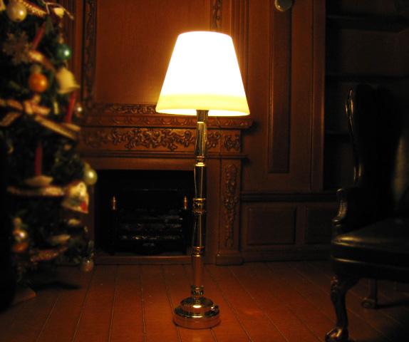 ミニチュア家具 電池式LED照明 ミニチュア 3V電池式LED照明 特売 HKL-FL-301 ドールハウス用 金のフロアスタンド ファッション通販