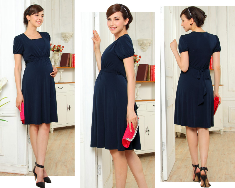 Short Sleeve Front Gathered Maternity and Nursing Dress