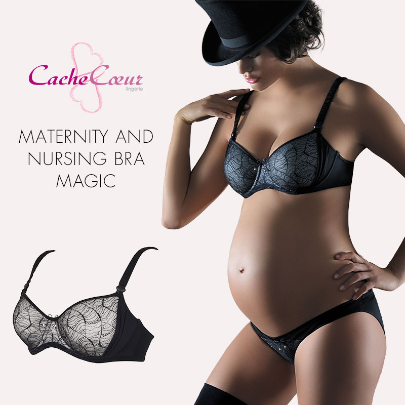 e7e06bbdf8cbd CacheCoeur France import maternity lingerie magic series Wire feeding bra  black