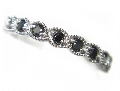 【予約】【ミル打ち】【ハーフエタニティー】計0.21ctUPブラックダイヤモンドリング