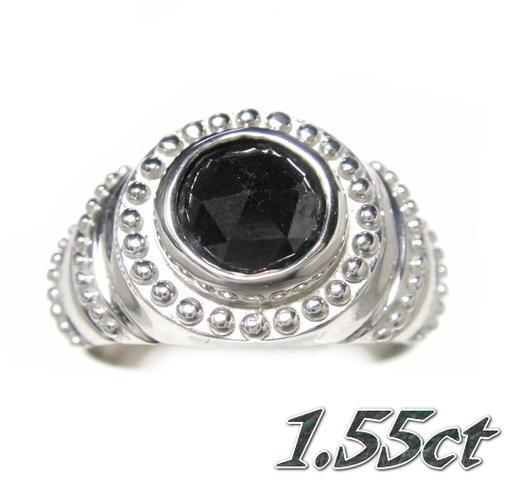 【メンズローズカット】ミル打ちサークルライン!SV1.55ctUPブラックダイヤリング