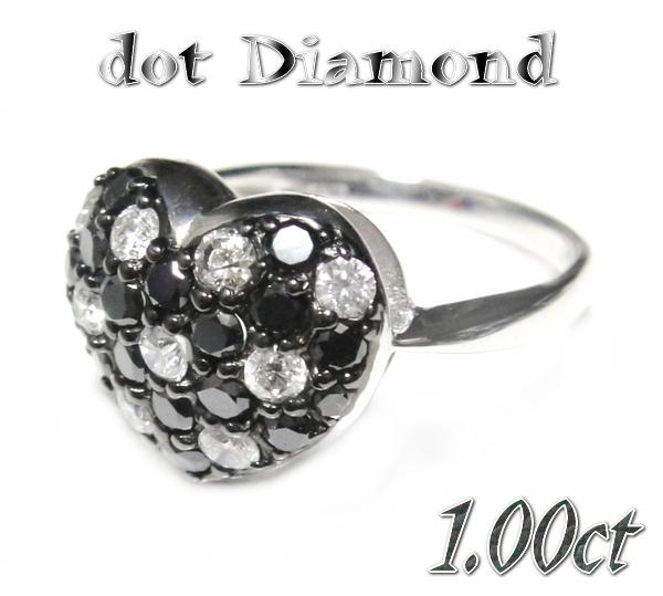 【予約】ふんわりやわらかハート♪&人気超ドット!パヴェ計1.00ctUPブラックダイヤモンドリング