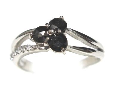 【予約】【ローズカット】2連風スリーストーン計0.34ctUPブラックダイヤ&ダイヤリング