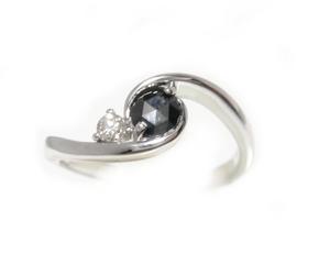 【予約】【ローズカット】ホワイト&ブラックシンプル計0.21ctUPブラックダイヤ&ダイヤモンドリング