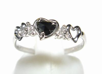 【予約/保留】【小悪魔ハート型ローズカット】ハート&ハート計0.31ctUPブラックダイヤ&ダイヤモンドリング