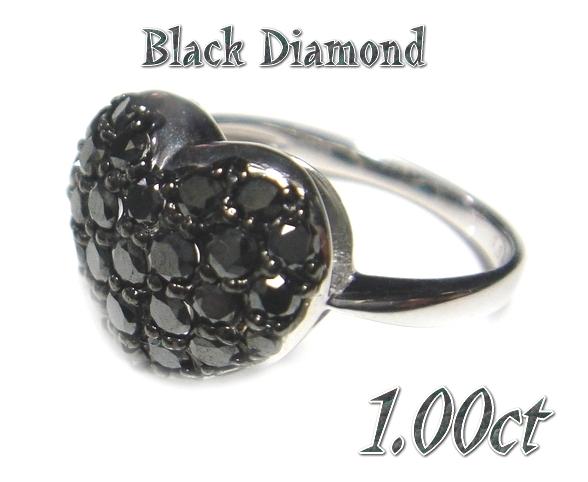 【予約】【オススメ】ふんわりやわらかハート♪パヴェ計1.00ctブラックダイヤモンドリング
