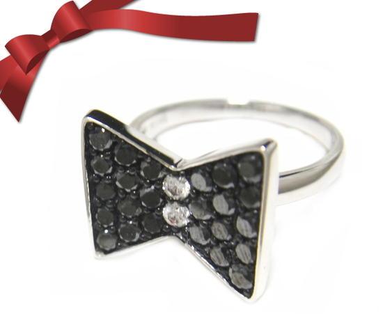 【予約】迫力ある大きめハッピーリボンパヴェ計1.00ctブラックダイヤモンドリング