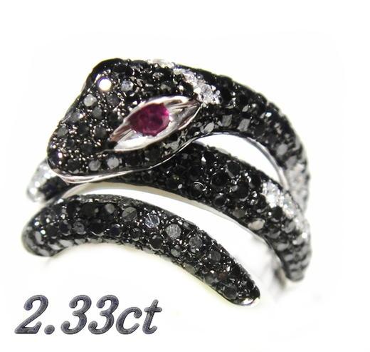 【予約】【スネーク】ボリューム&立体とぐろ蛇パヴェ!計2.23ctブラックダイヤ&ダイヤリング